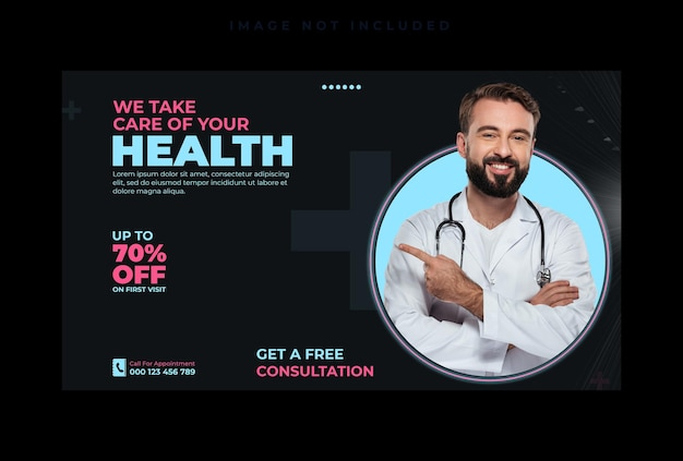 Modelo de banner da web de mídia social de saúde médica