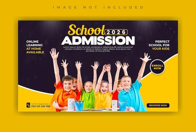 Modelo de banner da web de mídia social para admissão escolar