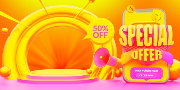 Modelo de banner da web de oferta especial de moda