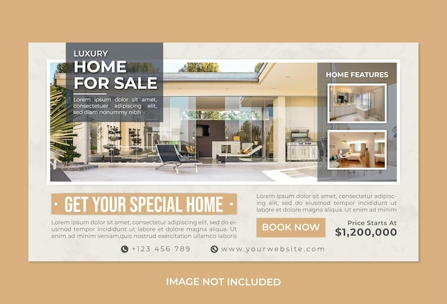 Modelo de banner da web de promoção de imóveis ou casa à venda