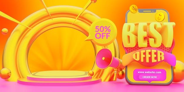 Modelo de banner da web de venda de melhor oferta