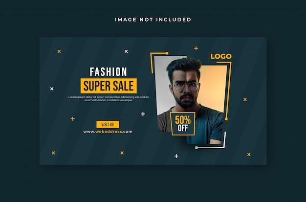 Modelo de banner da web de venda de moda