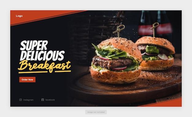 Modelo de banner da web delicious food