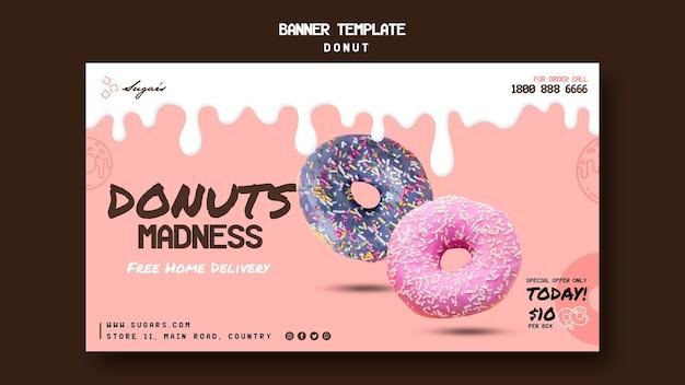 Modelo de banner da web do donuts madness