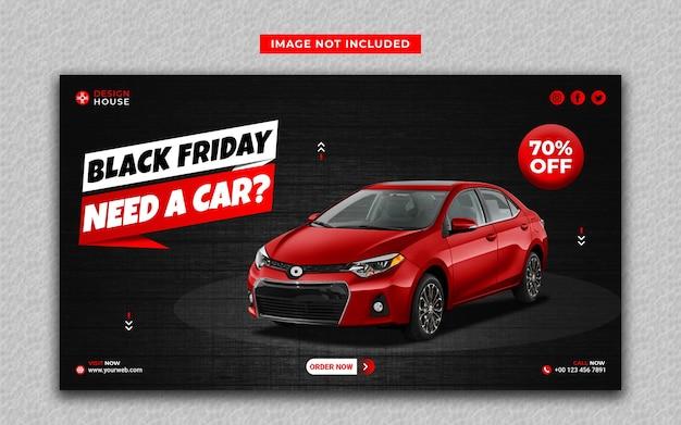 Modelo de banner da web e mídia social preta de aluguel de carro na cor vermelha