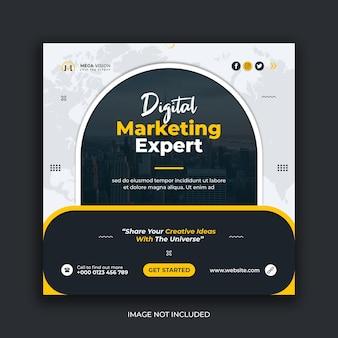 Modelo de banner da web instagram para redes sociais corporativas de marketing digital