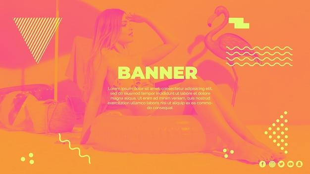 Modelo de banner da web no estilo de memphis com conceito de verão