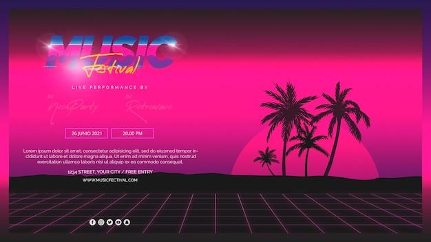 Modelo de banner da web para o festival de música dos anos 80