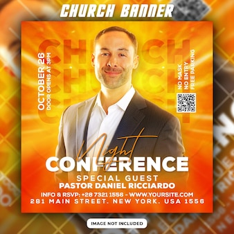 Modelo de banner da web para panfleto noturno na igreja e mídia social