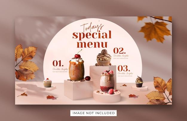 Modelo de banner da web para promoção de menu de bebidas especiais