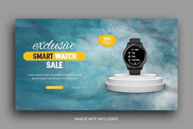 Modelo de banner da web para promoção de venda de relógio inteligente
