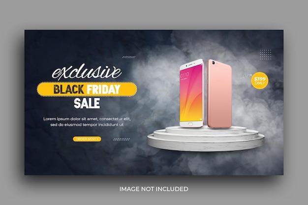Modelo de banner da web para promoção de venda por telefone inteligente black friday sale