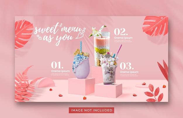 Modelo de banner da web para promoção do menu de bebidas do dia dos namorados