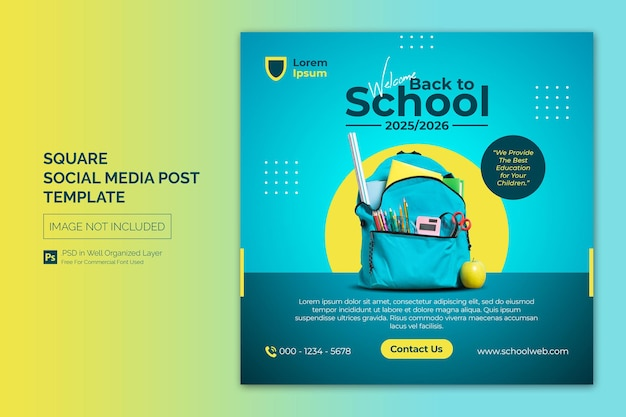 Modelo de banner da web para publicação na escola de educação de admissão na escola nas mídias sociais