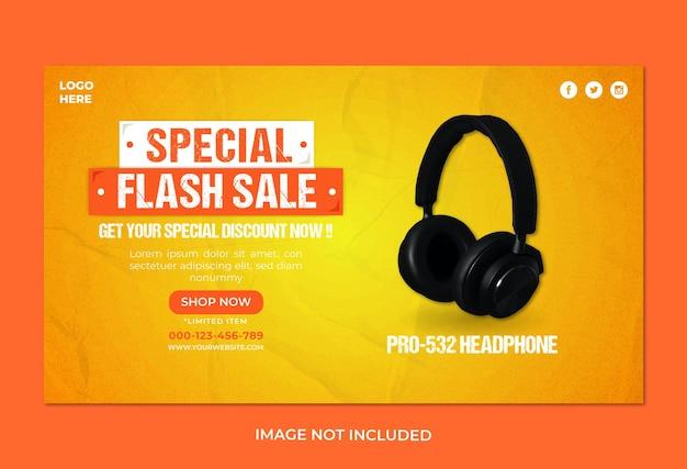 Modelo de banner da web para venda de música em fone de ouvido