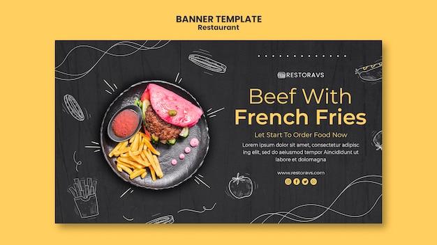 Modelo de banner de abertura de restaurante