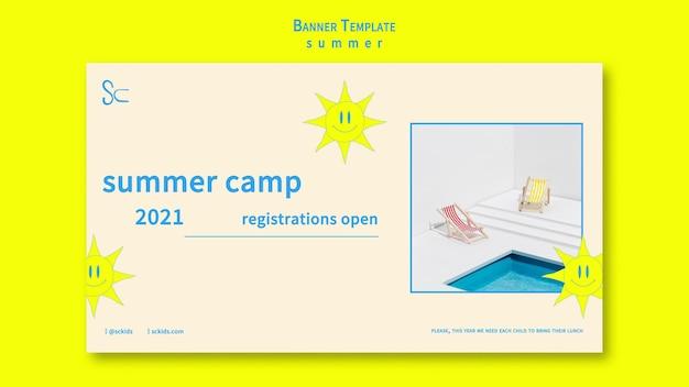 Modelo de banner de acampamento de verão