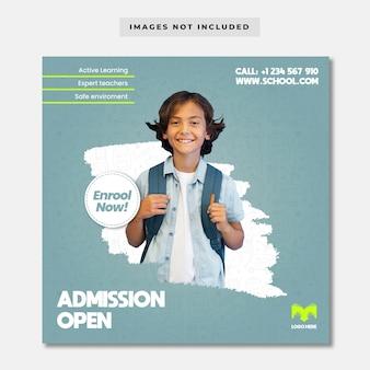 Modelo de banner de admissão aberta da escola