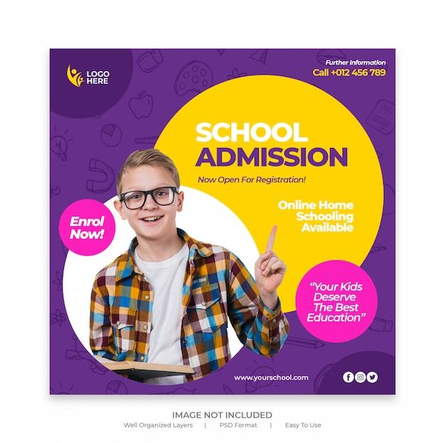 Modelo de banner de admissão escolar ou folheto quadrado