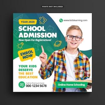 Modelo de banner de admissão escolar