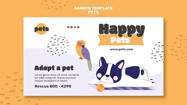 Modelo de banner de adoção de animal de estimação