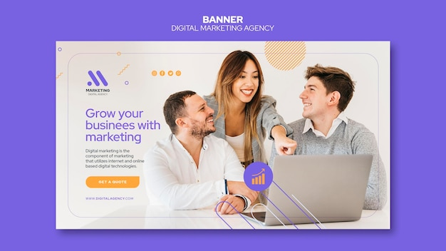 Modelo de banner de agência de marketing digital