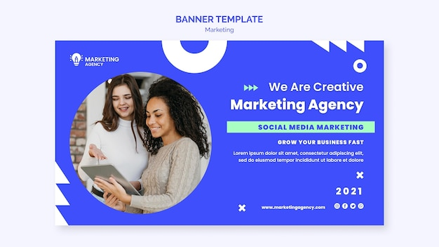 Modelo de banner de agência de marketing