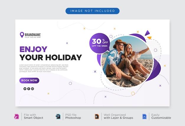 Modelo de banner de agência de viagens para banner da web de promoção de mídia social