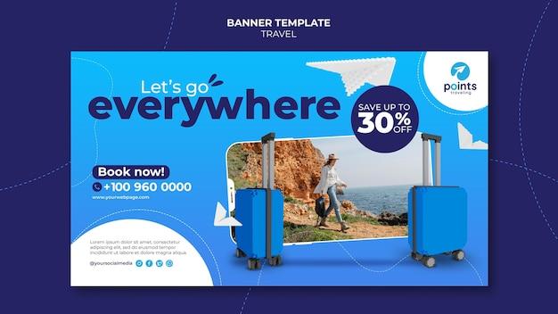 Modelo de banner de agência de viagens