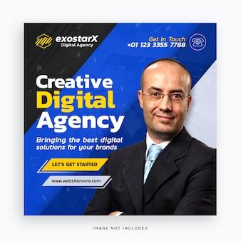 Modelo de banner de agência digital criativa