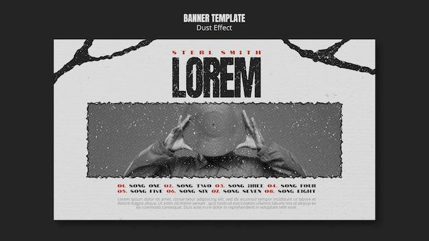 Modelo de banner de álbum de música com foto e efeito de poeira