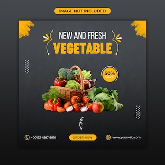 Modelo de banner de alimentos vegetais frescos