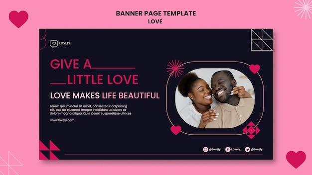 Modelo de banner de amor com foto