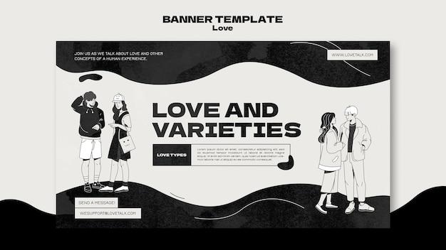 Modelo de banner de amor em preto e branco