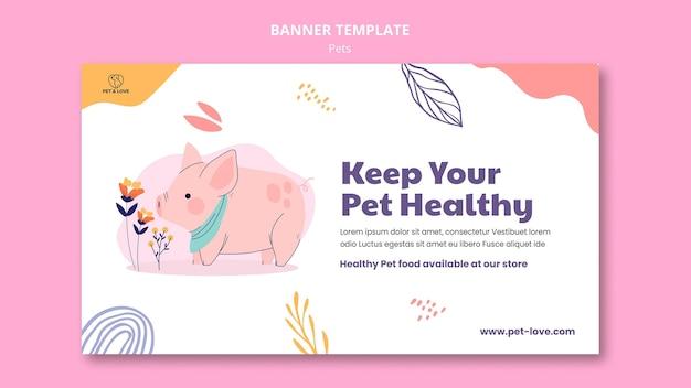 Modelo de banner de animal de estimação saudável