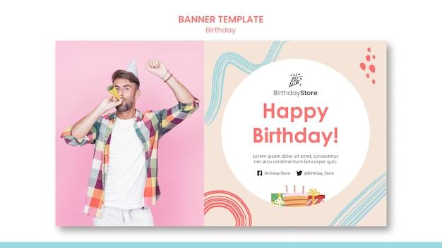 Modelo de banner de aniversário