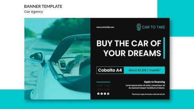 Modelo de banner de anúncio de agência automóvel
