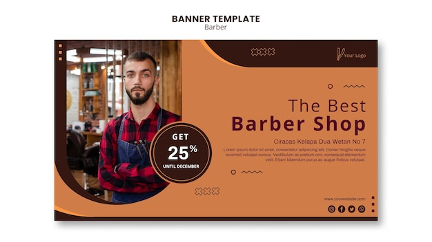 Modelo de banner de anúncio de barbearia