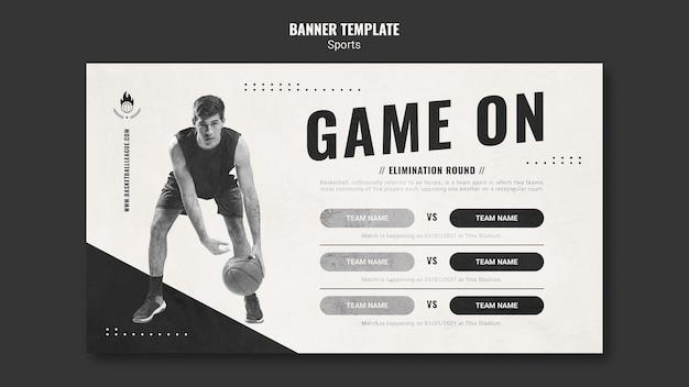 Modelo de banner de anúncio de basquete