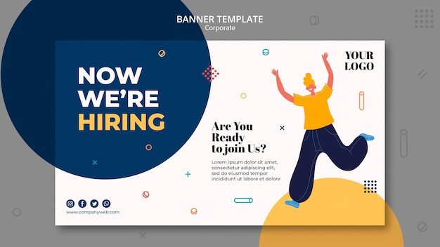 Modelo de banner de anúncio de contratação
