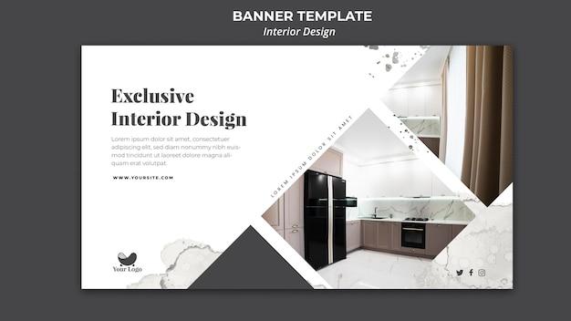 Modelo de banner de anúncio de design de interiores