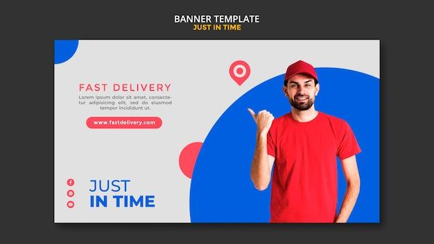 Modelo de banner de anúncio de empresa de entrega