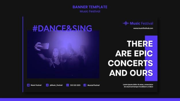 Modelo de banner de anúncio de festival de música