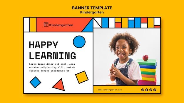 Modelo de banner de anúncio de jardim de infância