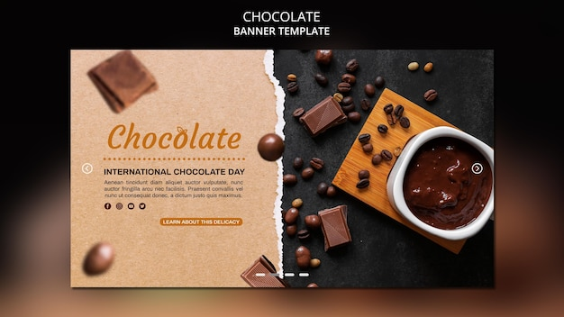 Modelo de banner de anúncio de loja de chocolates
