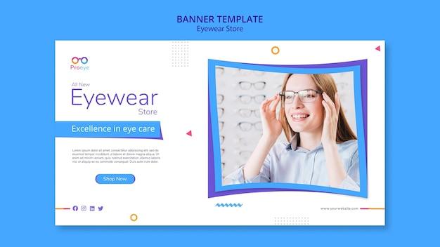 Modelo de banner de anúncio de loja de óculos