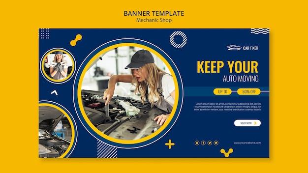 Modelo de banner de anúncio de oficina mecânica