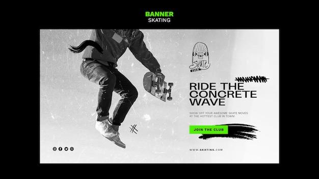 Modelo de banner de anúncio de patinação
