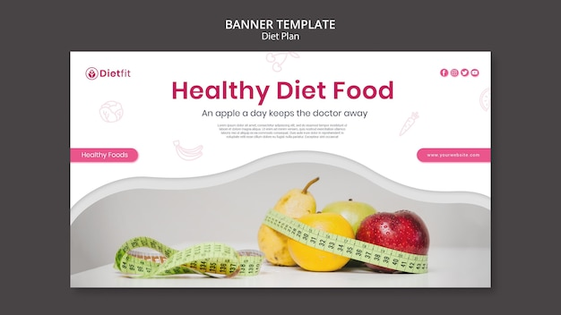 Modelo de banner de anúncio de plano de dieta