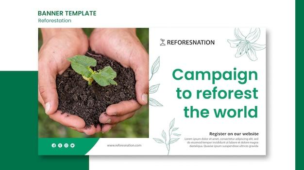 Modelo de banner de anúncio de reflorestamento